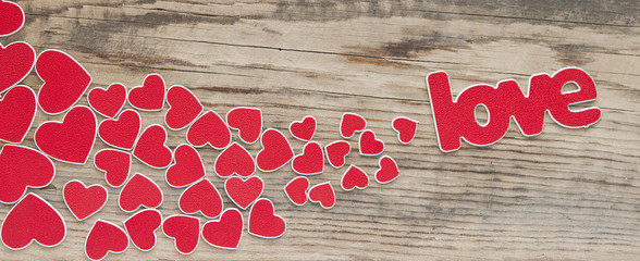 word love with heart shaped valentines day holiday background wi