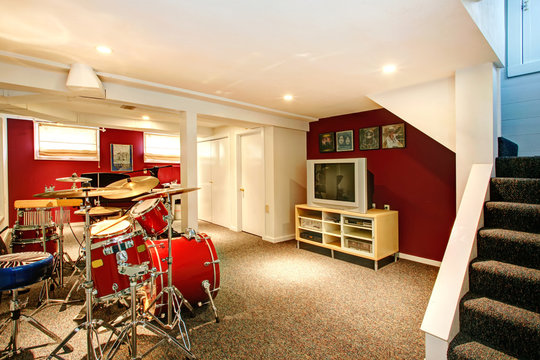 White and red rehearsal basement room