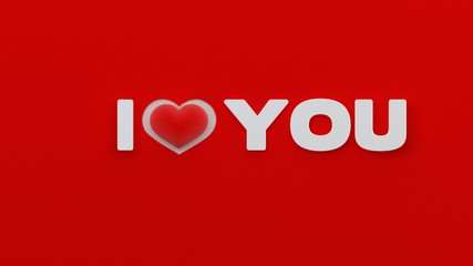 I love you with red heart