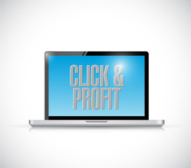 click and profit laptop illustration design