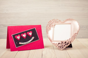 Heart shaped photo frame and Valentine card
