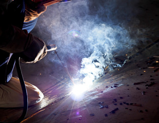 steel welder at work