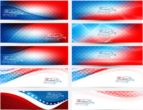 President Day in United States of America with colorful header s