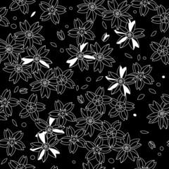 Black and white asian sakura flowers seamless pattern, vector