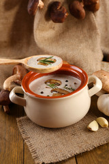 Mushroom soup in wooden spoon and pot,