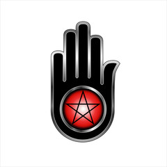 Hand with a Pentacle-Symbolizes both violence and non violence