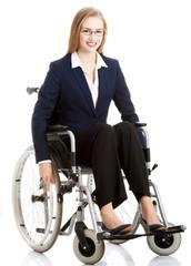 Beautiful caucasain business woman sitting on wheelchair.