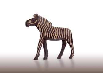 Wood toy zebra isolated