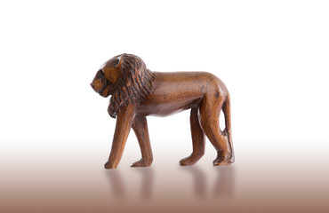 Wood toy lion isolated