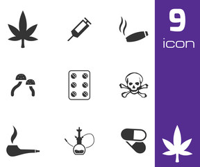 Vector black drugs icons set
