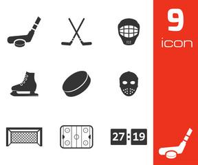 Vector black hockey icons set