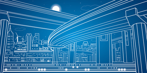 Night city, vector lines overpass, bridge, vector design