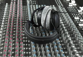 Headphone on a studio mixer
