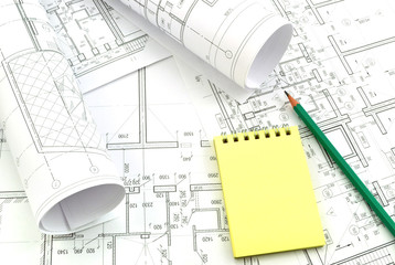 Image of several drawings of the project and notebook