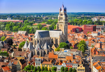 Foto op Canvas Brugge Aerial view of Saint Salvator Cathedral, Old Town of Bruges