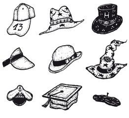 Sketched Caps And Hats Set