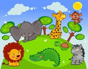Группа африканских животных на лугу