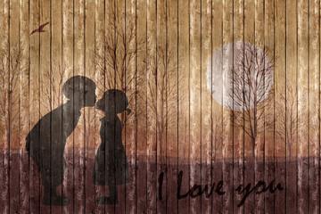 Gemälde auf Holzwand