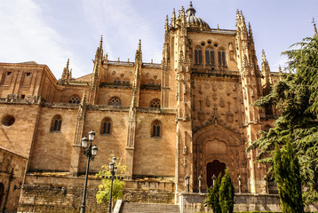 One of the towers of the New Cathedral of Salamanca, Spain, UNES
