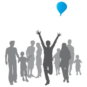 Silhouette, kleine Gruppe von Menschen mit Luftballon - Freude - vektor