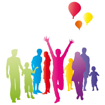 Kleine Gruppe Menschen - Freude und Jubel, Party und Feier - vektor, kleine Ansammlung, Interesse bekunden, Gemeinschaft fördern, Grundeinkommen, Grundsicherung, Regenbogenfarben, Hoffnung