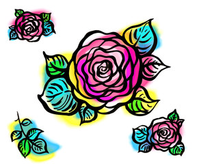Colorful graphic design rose floral motif