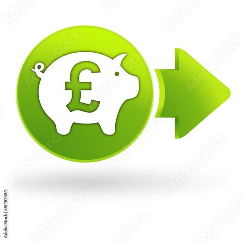 Epargne Livre Sterling Sur Symbole Web Vert Stock Image And