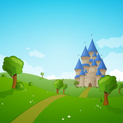 Vector Illustration of a Green Landscape with a Castle