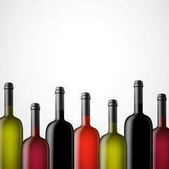 Vector Illustration of Wine Bottles Without Lables