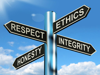 Respect Ethics Honest Integrity Signpost Means Good Qualities
