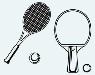 Ping pong. Tennis racket and ball