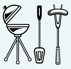 Set of bbq objects