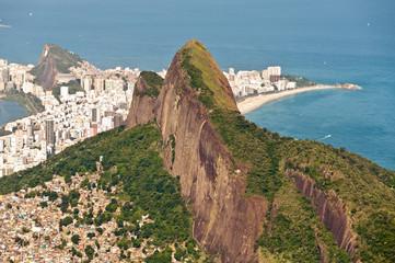 Rio de Janeiro Aerial View with Ocean, Mountains, Urban Areas