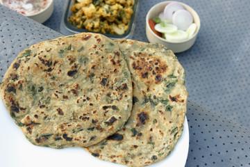 Methi Paratha – Stuffed flatbread made with fenugreek leaves