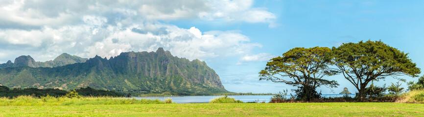 The Koolau mountains across Kaneohe Bay on Windward Oahu, Hawaii
