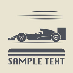Race car icon or sign, vector illustration