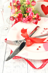 Romantic holiday table setting, close up