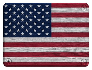 USA, American flag painted on wooden tag