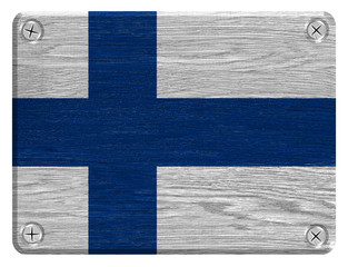Finland Flag painted on wood tag