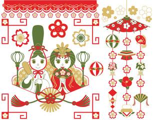 3月3日桃の節句雛祭り用イラストカットデザインイメージ素材(おめでたい配色赤茶抹茶色)
