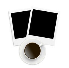 Two photo papers polaroid card and coffee cup isolated on white