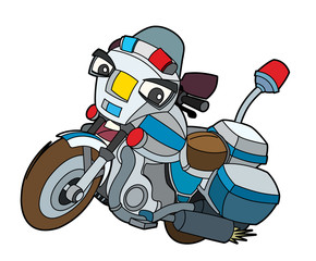 Colorful motorcycle - illustration for the children