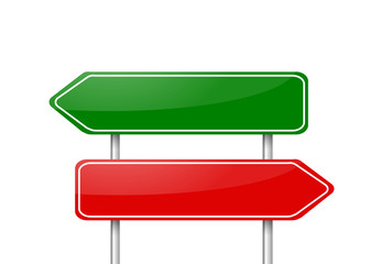 Two different direction arrow road signs vector