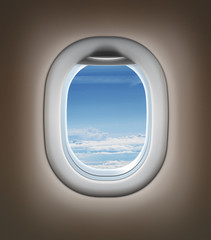 Travel by airplane concept. Airplane interior or jet window with