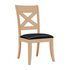 classic wooden chair with leather seat
