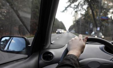 Fototapete - Driver in car