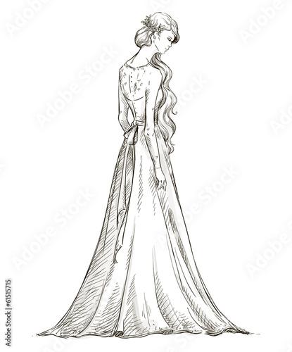 """Beautiful Girl With Long Hair. Bride. Bridal Dress"