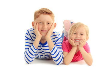 Happy brother and sister together against white background