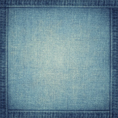 Vector blue jeans texture with frame