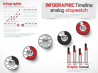 INFOGRAPHIC TIMELINE ANALOG STOPWATCH RED